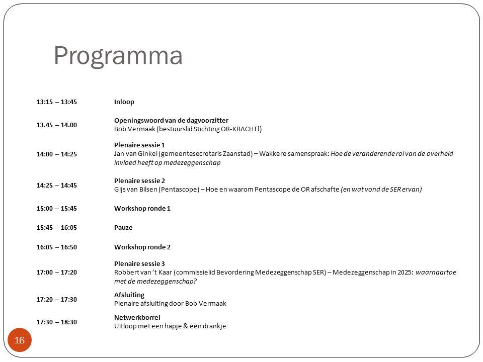 Programma 16 13:15 – 13:45Inloop 13.45 – 14.00 Openingswoord van de dagvoorzitter Bob Vermaak (bestuurslid Stichting OR-KRACHT!) 14:00 – 14:25 Plenaire sessie 1 Jan van Ginkel (gemeentesecretaris Zaanstad) – Wakkere samenspraak: Hoe de veranderende rol van de overheid invloed heeft op medezeggenschap 14:25 – 14:45 Plenaire sessie 2 Gijs van Bilsen (Pentascope) – Hoe en waarom Pentascope de OR afschafte (en wat vond de SER ervan) 15:00 – 15:45Workshop ronde 1 15:45 – 16:05Pauze 16:05 – 16:50Workshop ronde 2 17:00 – 17:20 Plenaire sessie 3 Robbert van 't Kaar (commissielid Bevordering Medezeggenschap SER) – Medezeggenschap in 2025: waarnaartoe met de medezeggenschap.