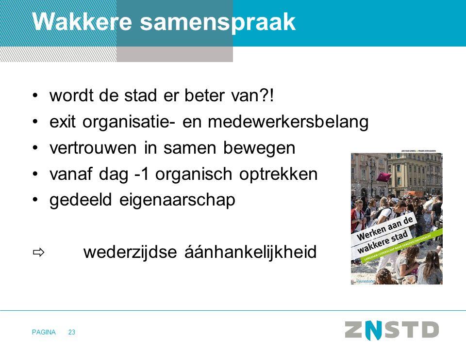 PAGINA Wakkere samenspraak wordt de stad er beter van?! exit organisatie- en medewerkersbelang vertrouwen in samen bewegen vanaf dag -1 organisch optr