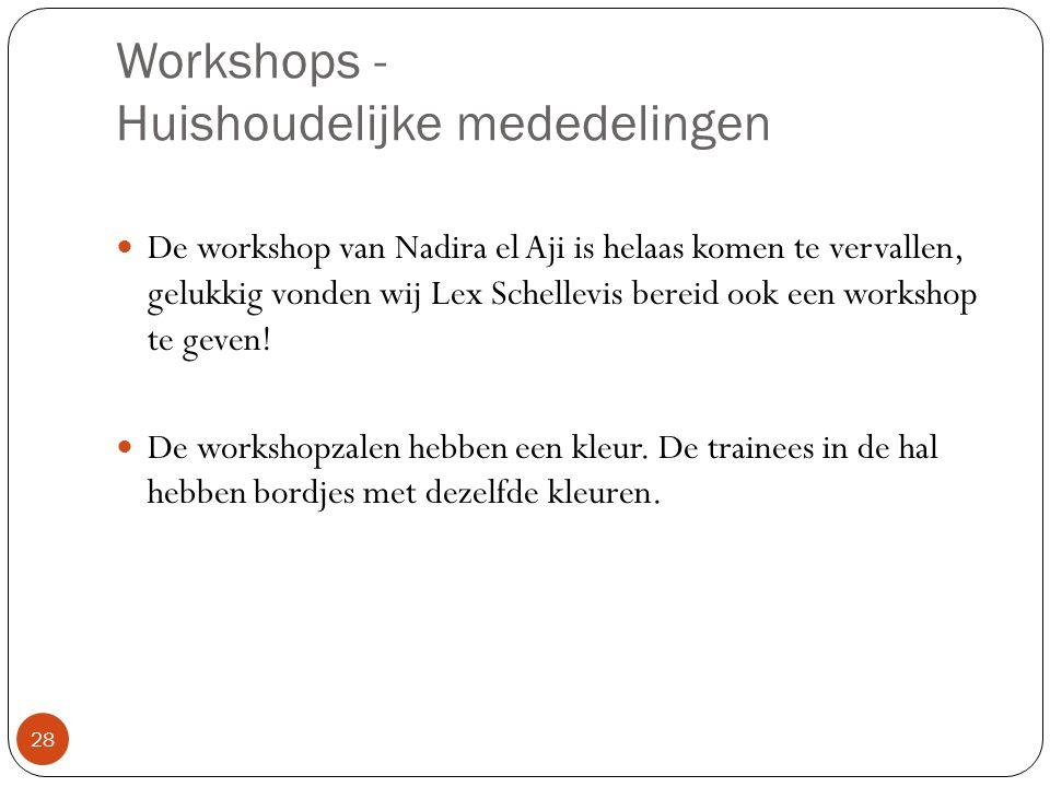 Workshops - Huishoudelijke mededelingen 28 De workshop van Nadira el Aji is helaas komen te vervallen, gelukkig vonden wij Lex Schellevis bereid ook e