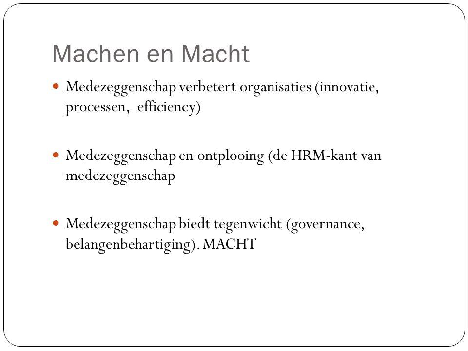 Machen en Macht Medezeggenschap verbetert organisaties (innovatie, processen, efficiency) Medezeggenschap en ontplooing (de HRM-kant van medezeggensch