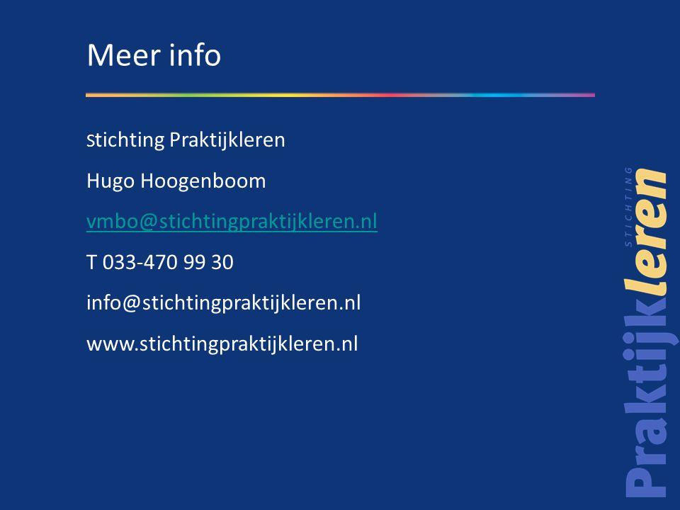 S tichting Praktijkleren Hugo Hoogenboom vmbo@stichtingpraktijkleren.nl T 033-470 99 30 info@stichtingpraktijkleren.nl www.stichtingpraktijkleren.nl Meer info