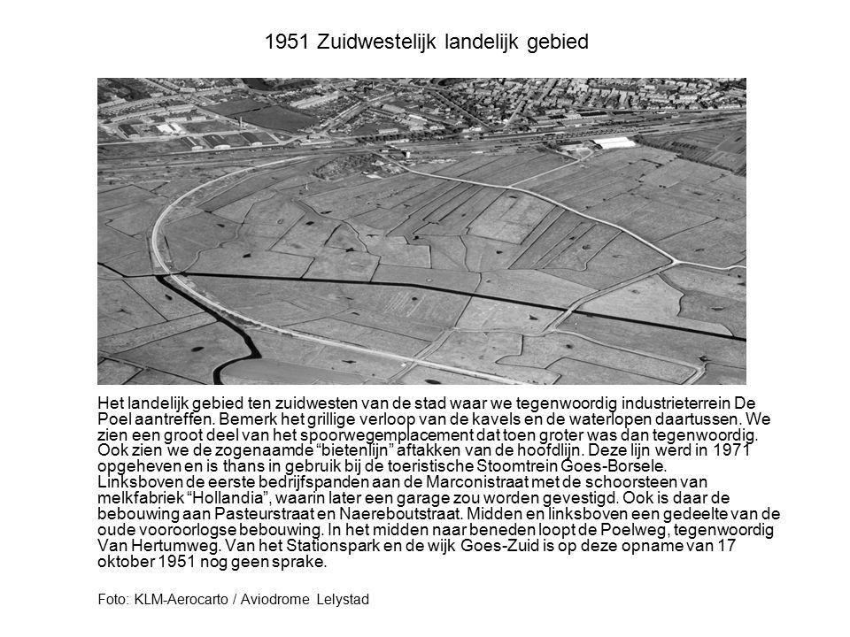 1951 Zuidwestelijk landelijk gebied Het landelijk gebied ten zuidwesten van de stad waar we tegenwoordig industrieterrein De Poel aantreffen. Bemerk h