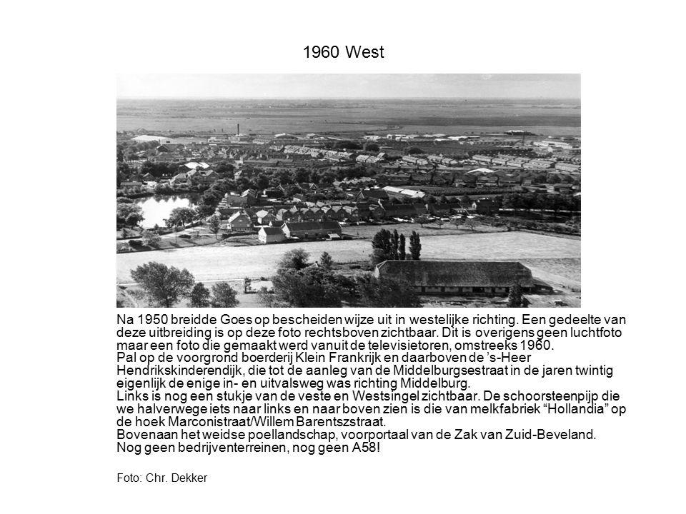 1960 West Na 1950 breidde Goes op bescheiden wijze uit in westelijke richting. Een gedeelte van deze uitbreiding is op deze foto rechtsboven zichtbaar