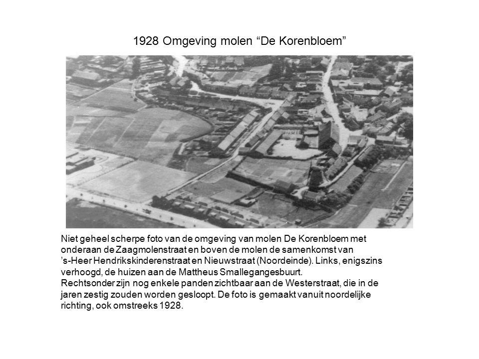 """1928 Omgeving molen """"De Korenbloem"""" Niet geheel scherpe foto van de omgeving van molen De Korenbloem met onderaan de Zaagmolenstraat en boven de molen"""
