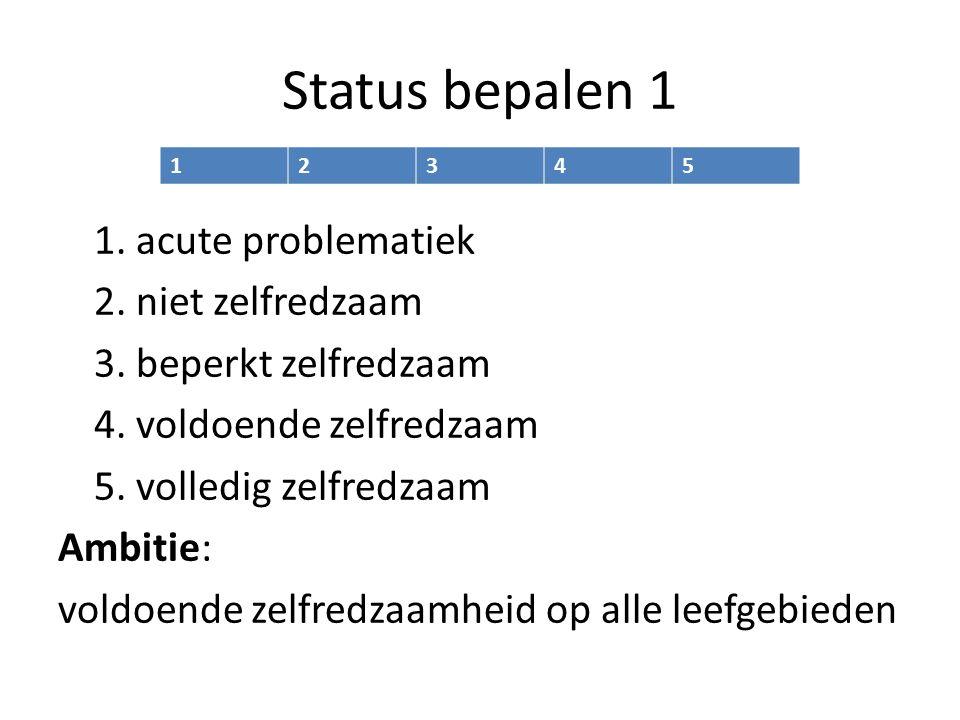 Status bepalen 1 1. acute problematiek 2. niet zelfredzaam 3.