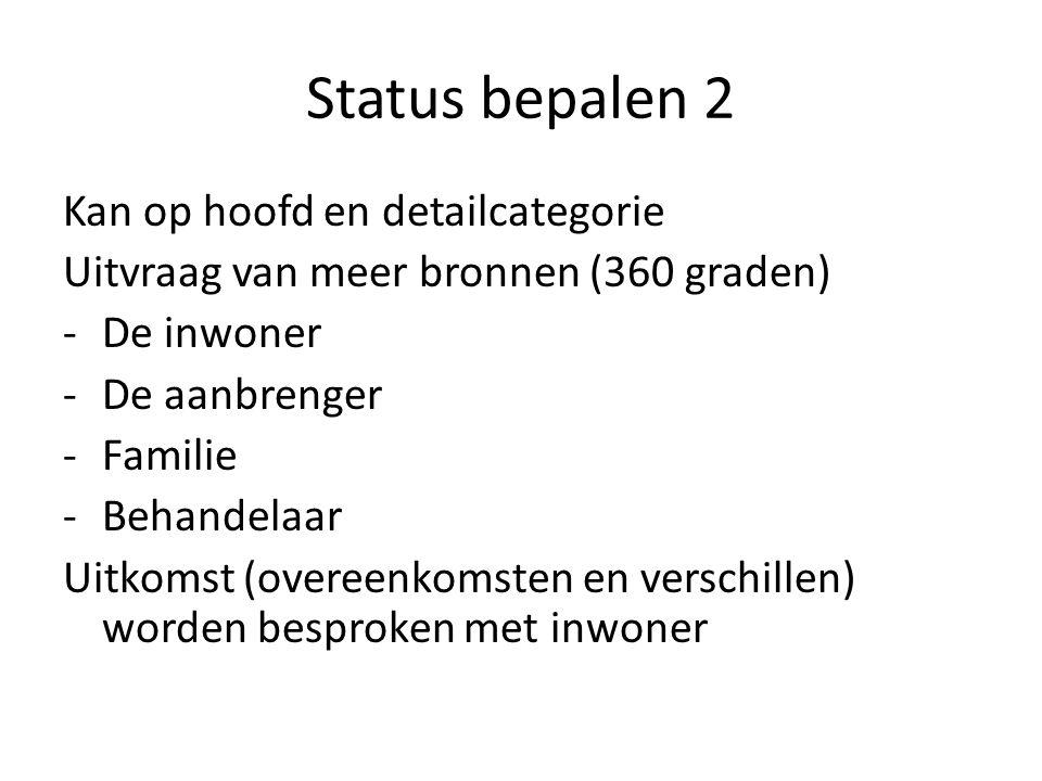 Status bepalen 2 Kan op hoofd en detailcategorie Uitvraag van meer bronnen (360 graden) -De inwoner -De aanbrenger -Familie -Behandelaar Uitkomst (overeenkomsten en verschillen) worden besproken met inwoner