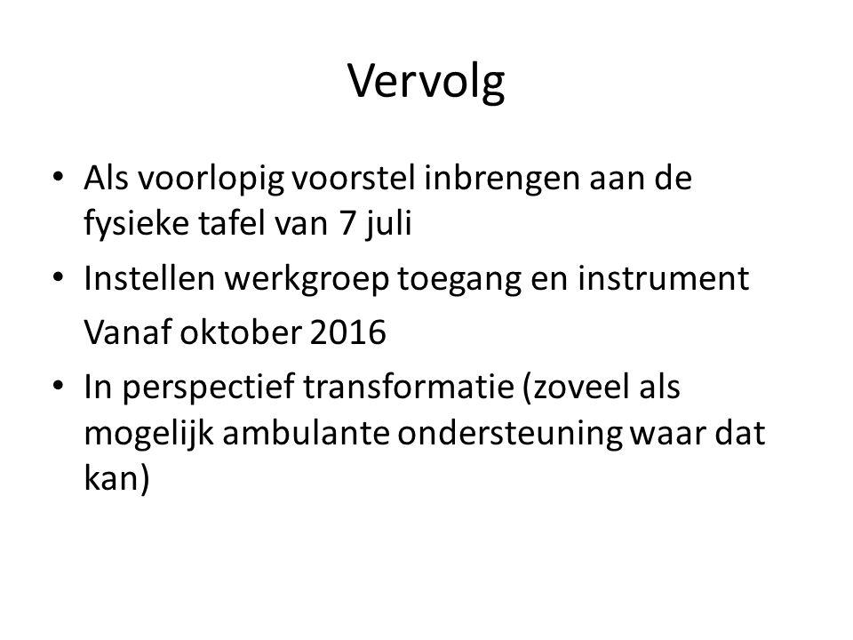 Vervolg Als voorlopig voorstel inbrengen aan de fysieke tafel van 7 juli Instellen werkgroep toegang en instrument Vanaf oktober 2016 In perspectief transformatie (zoveel als mogelijk ambulante ondersteuning waar dat kan)