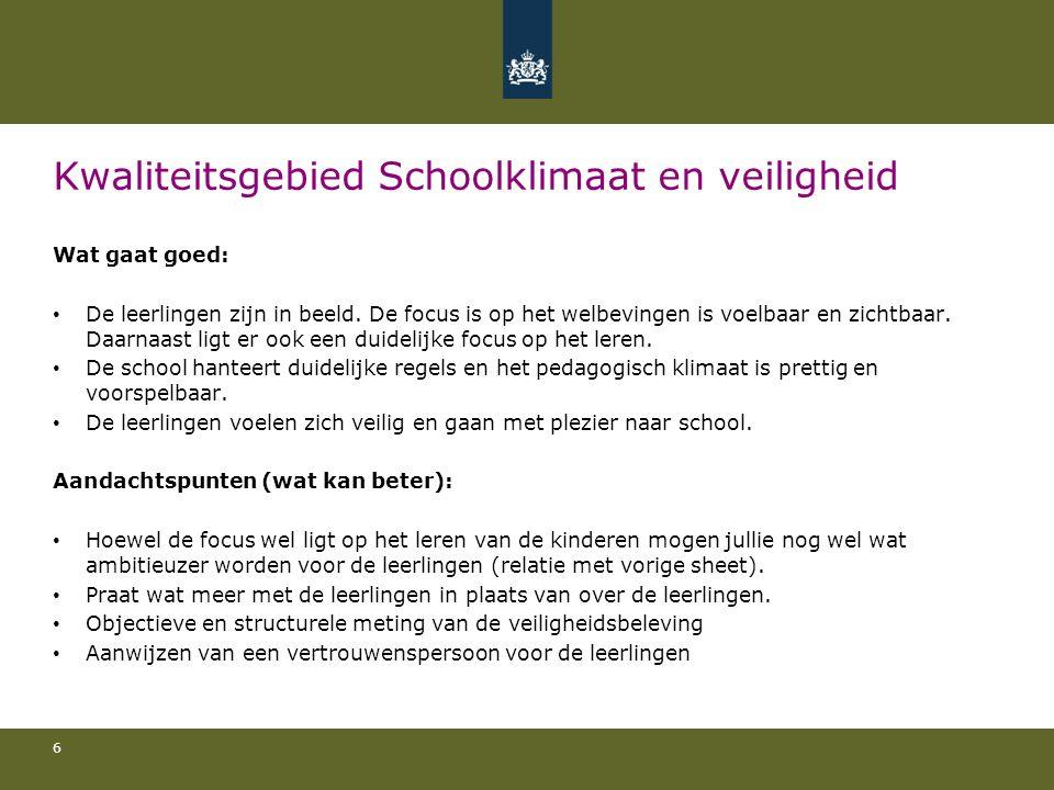 Kwaliteitsgebied Schoolklimaat en veiligheid Wat gaat goed: De leerlingen zijn in beeld.