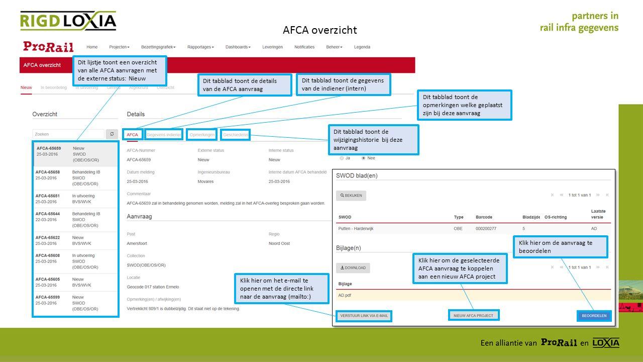 AFCA overzicht Dit lijstje toont een overzicht van alle AFCA aanvragen met de externe status: Nieuw Dit tabblad toont de details van de AFCA aanvraag Dit tabblad toont de gegevens van de indiener (intern) Dit tabblad toont de opmerkingen welke geplaatst zijn bij deze aanvraag Dit tabblad toont de wijzigingshistorie bij deze aanvraag Klik hier om het e-mail te openen met de directe link naar de aanvraag (mailto:) Klik hier om de geselecteerde AFCA aanvraag te koppelen aan een nieuw AFCA project Klik hier om de aanvraag te beoordelen