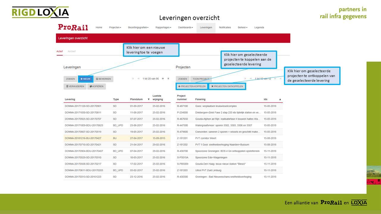 Leveringen overzicht Klik hier om een nieuwe levering toe te voegen Klik hier om geselecteerde projecten te koppelen aan de geselecteerde levering Klik hier om geselecteerde projecten te ontkoppelen van de geselecteerde levering