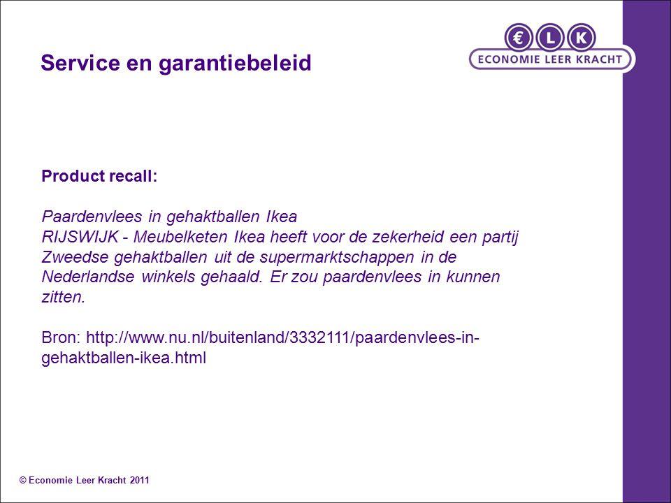 Service en garantiebeleid Product recall: Paardenvlees in gehaktballen Ikea RIJSWIJK - Meubelketen Ikea heeft voor de zekerheid een partij Zweedse geh