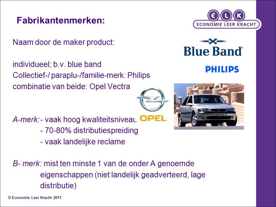 Fabrikantenmerken: Naam door de maker product: individueel; b.v. blue band Collectief-/ paraplu-/familie-merk: Philips combinatie van beide: Opel Vect