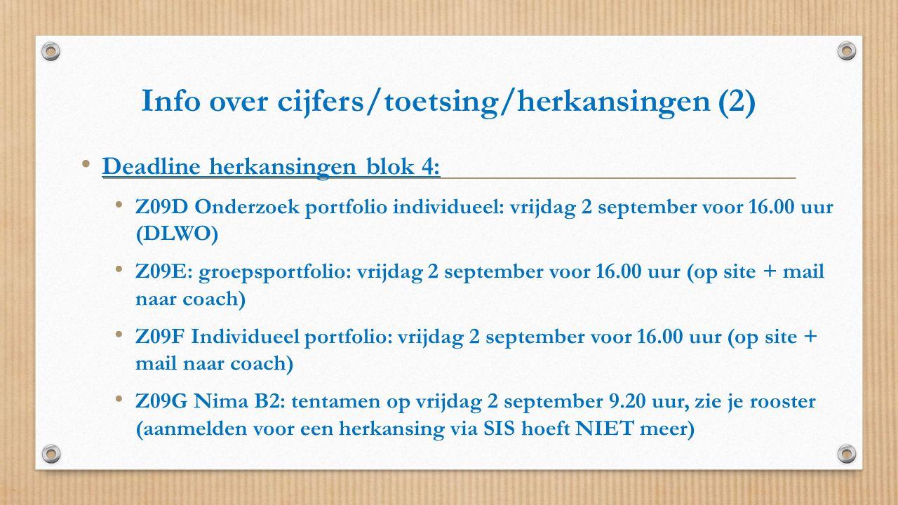 Info over cijfers/toetsing/herkansingen (2) Deadline herkansingen blok 4: Z09D Onderzoek portfolio individueel: vrijdag 2 september voor 16.00 uur (DL