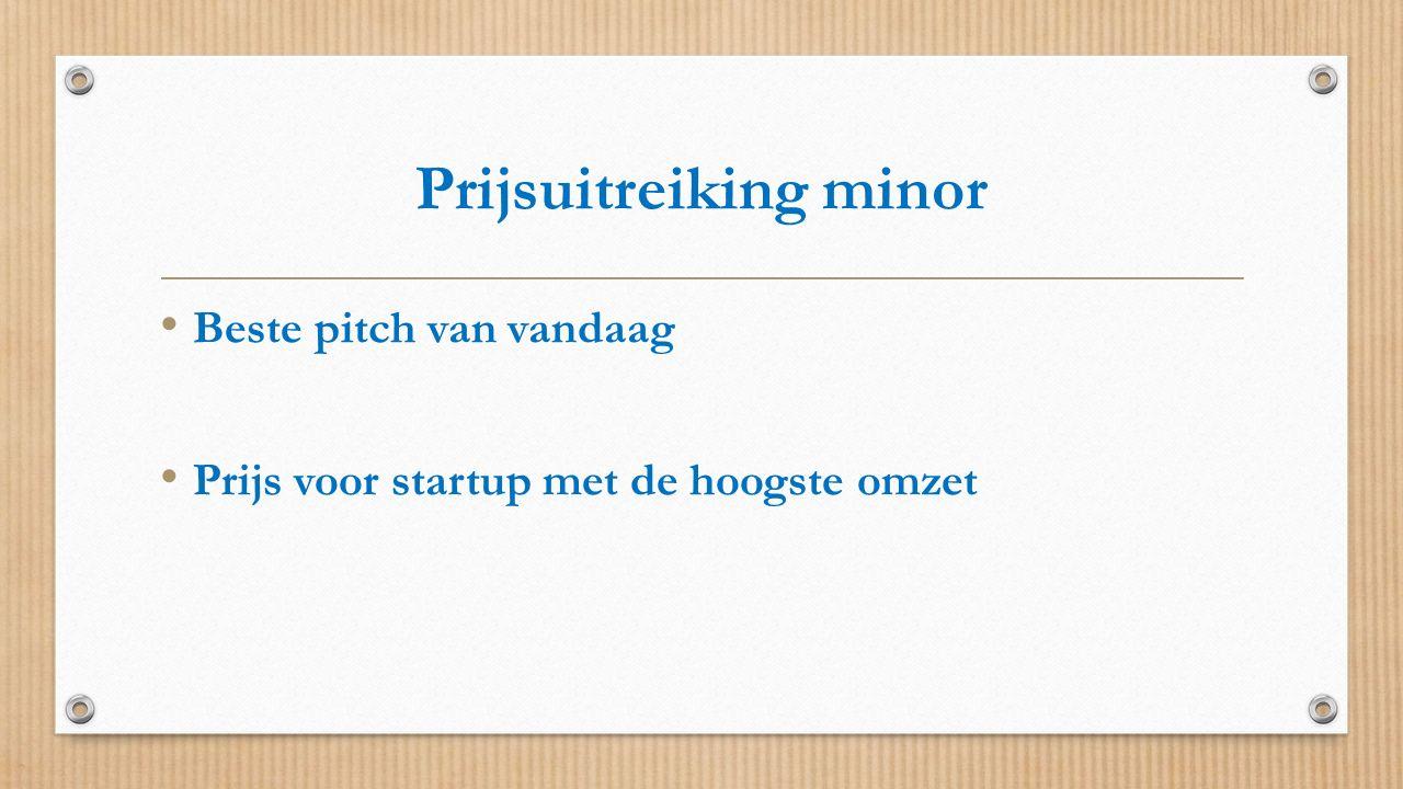 Prijsuitreiking minor Beste pitch van vandaag Prijs voor startup met de hoogste omzet