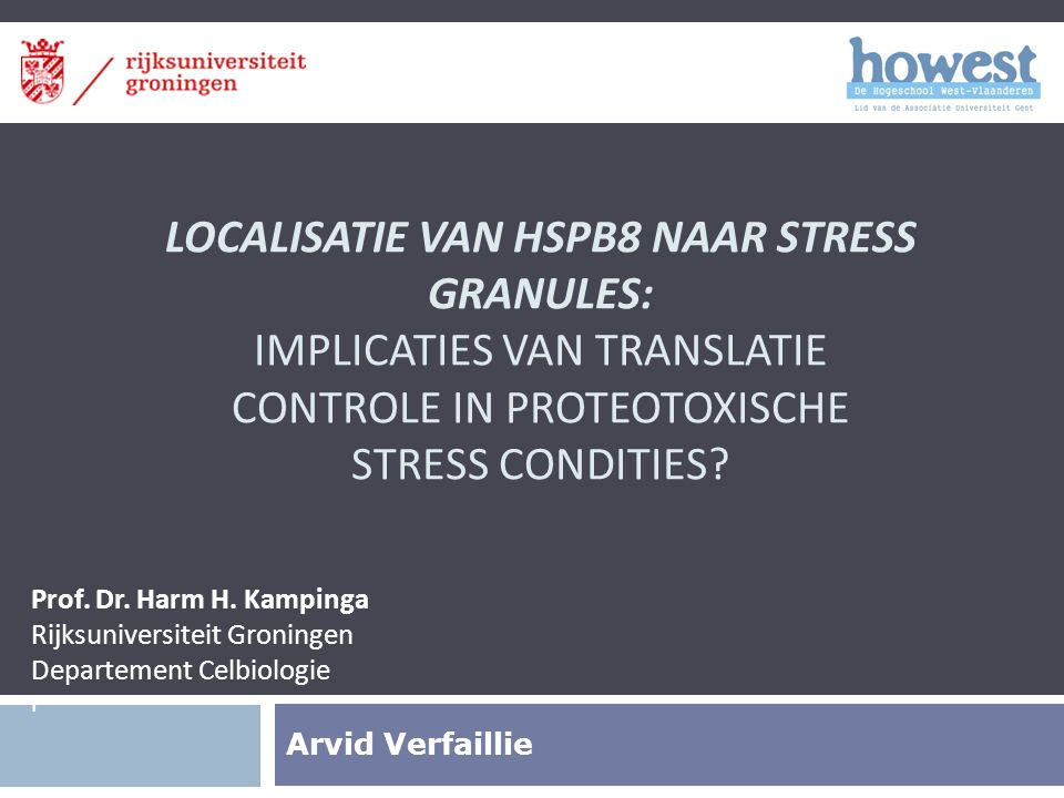 LOCALISATIE VAN HSPB8 NAAR STRESS GRANULES: IMPLICATIES VAN TRANSLATIE CONTROLE IN PROTEOTOXISCHE STRESS CONDITIES.