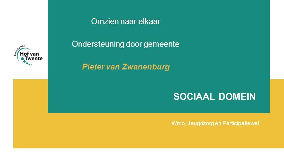 SOCIAAL DOMEIN Wmo, Jeugdzorg en Participatiewet Omzien naar elkaar Ondersteuning door gemeente Pieter van Zwanenburg