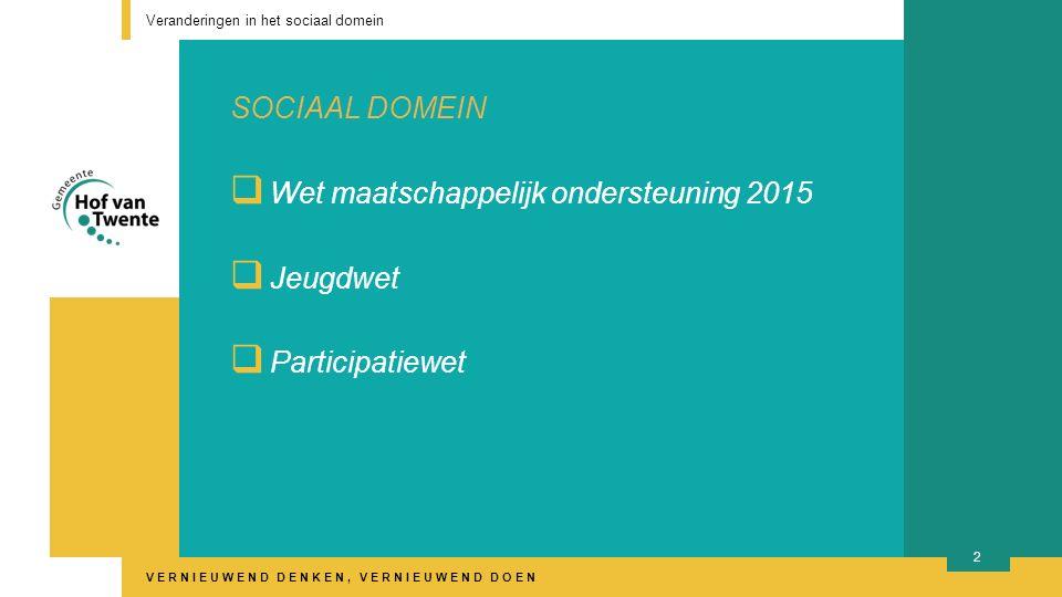 VERNIEUWEND DENKEN, VERNIEUWEND DOEN SOCIAAL DOMEIN  Wet maatschappelijk ondersteuning 2015  Jeugdwet  Participatiewet Veranderingen in het sociaal domein 2