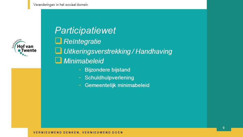 VERNIEUWEND DENKEN, VERNIEUWEND DOEN Participatiewet  Reïntegratie  Uitkeringsverstrekking / Handhaving  Minimabeleid - Bijzondere bijstand - Schuldhulpverlening - Gemeentelijk minimabeleid Veranderingen in het sociaal domein 9