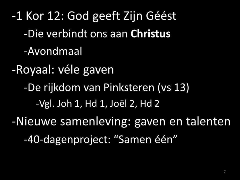-1 Kor 12: God geeft Zijn Géést -Die verbindt ons aan Christus -Avondmaal -Royaal: véle gaven -De rijkdom van Pinksteren (vs 13) -Vgl.