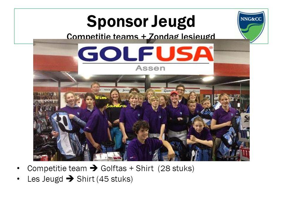 Sponsor Jeugd Competitie teams + Zondag lesjeugd Competitie team  Golftas + Shirt (28 stuks) Les Jeugd  Shirt (45 stuks)