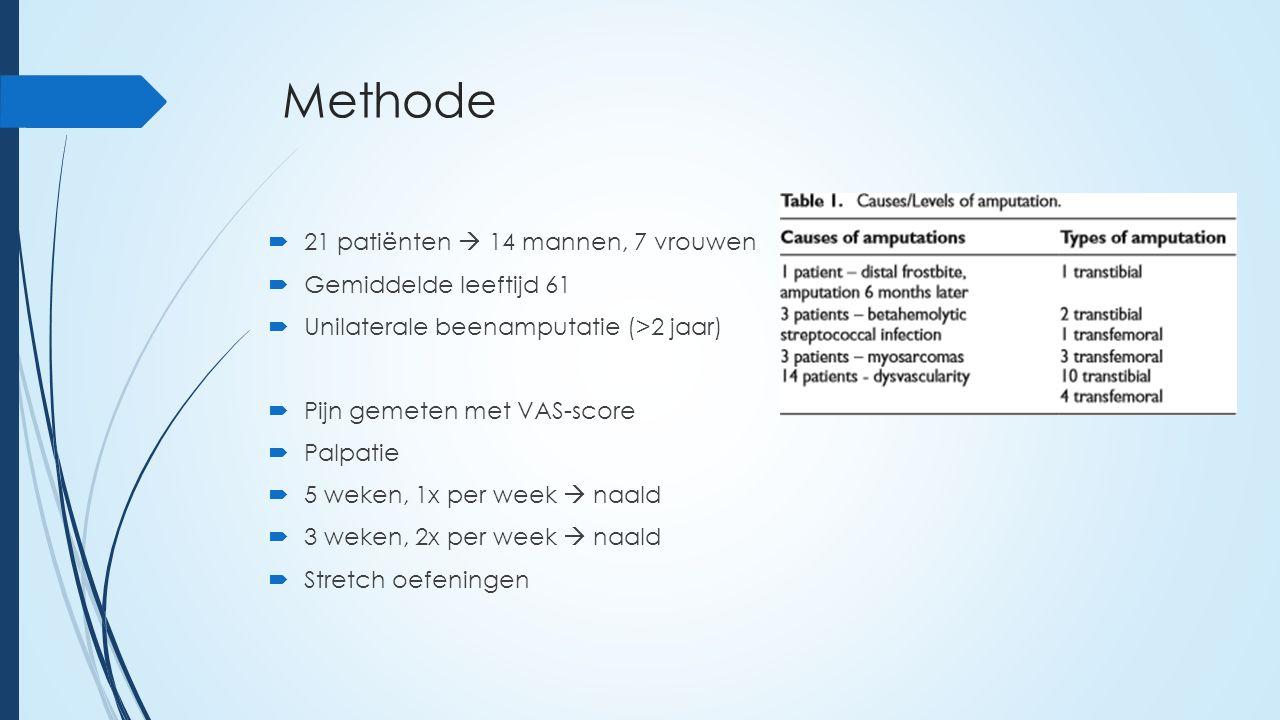 Methode  21 patiënten  14 mannen, 7 vrouwen  Gemiddelde leeftijd 61  Unilaterale beenamputatie (>2 jaar)  Pijn gemeten met VAS-score  Palpatie  5 weken, 1x per week  naald  3 weken, 2x per week  naald  Stretch oefeningen