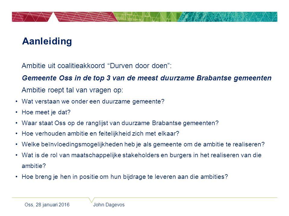 """Aanleiding Ambitie uit coalitieakkoord """"Durven door doen"""": Gemeente Oss in de top 3 van de meest duurzame Brabantse gemeenten Ambitie roept tal van vr"""