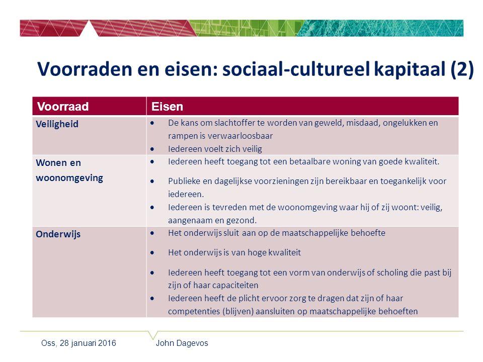 Voorraden en eisen: sociaal-cultureel kapitaal (2) VoorraadEisen Veiligheid  De kans om slachtoffer te worden van geweld, misdaad, ongelukken en ramp