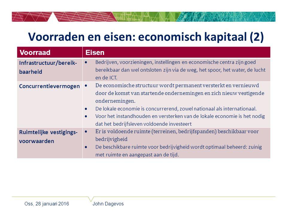 Voorraden en eisen: economisch kapitaal (2) VoorraadEisen Infrastructuur/bereik- baarheid  Bedrijven, voorzieningen, instellingen en economische cent