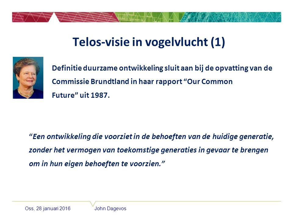 Oss, 28 januari 2016 John Dagevos Telos-visie in vogelvlucht (1) Definitie duurzame ontwikkeling sluit aan bij de opvatting van de Commissie Brundtlan
