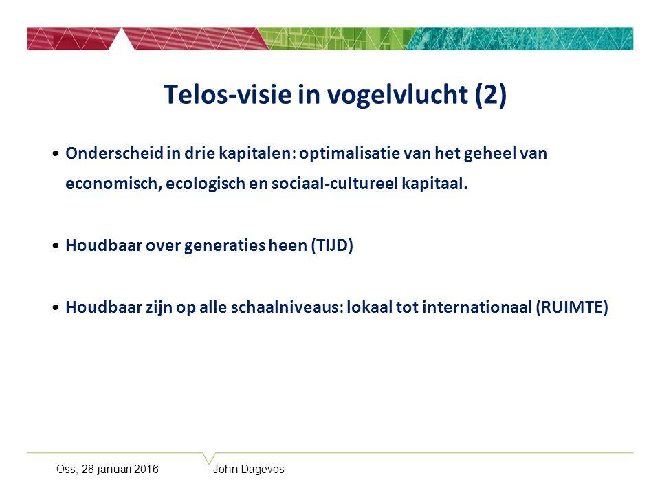 Oss, 28 januari 2016 John Dagevos Telos-visie in vogelvlucht (2) Onderscheid in drie kapitalen: optimalisatie van het geheel van economisch, ecologisc