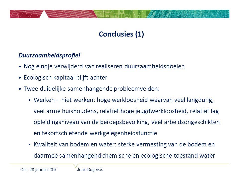 Conclusies (1) Duurzaamheidsprofiel Nog eindje verwijderd van realiseren duurzaamheidsdoelen Ecologisch kapitaal blijft achter Twee duidelijke samenha