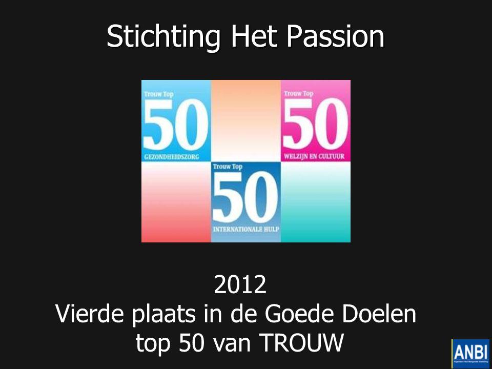 Stichting Het Passion 2012 Vierde plaats in de Goede Doelen top 50 van TROUW