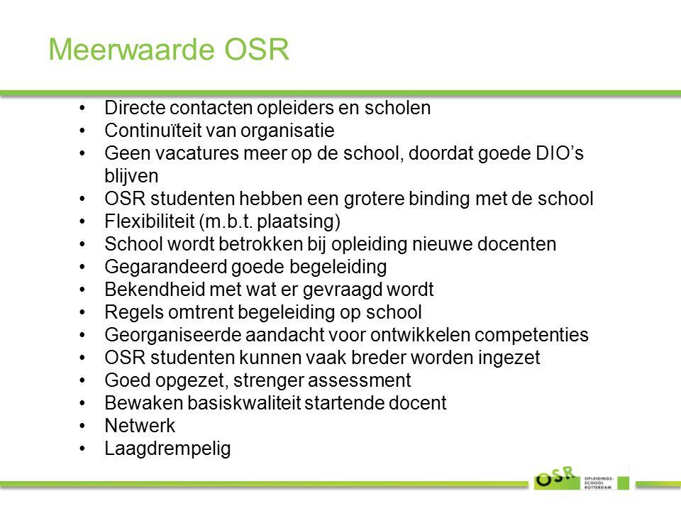 Meerwaarde OSR Directe contacten opleiders en scholen Continuïteit van organisatie Geen vacatures meer op de school, doordat goede DIO's blijven OSR studenten hebben een grotere binding met de school Flexibiliteit (m.b.t.