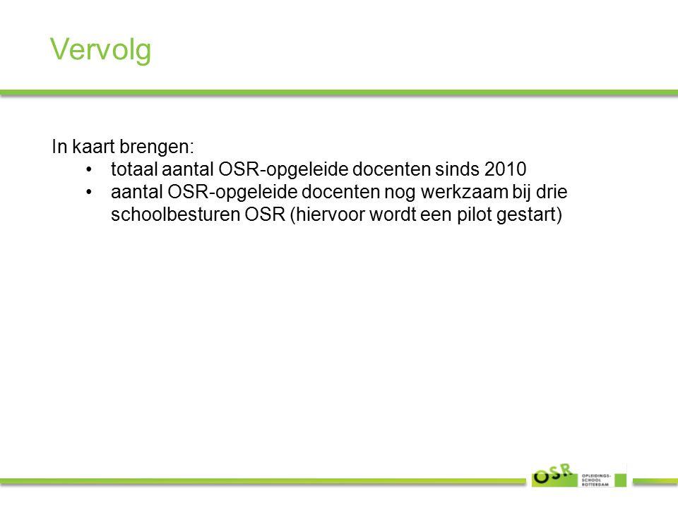 Vervolg In kaart brengen: totaal aantal OSR-opgeleide docenten sinds 2010 aantal OSR-opgeleide docenten nog werkzaam bij drie schoolbesturen OSR (hiervoor wordt een pilot gestart)