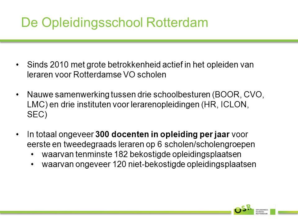 De Opleidingsschool Rotterdam Sinds 2010 met grote betrokkenheid actief in het opleiden van leraren voor Rotterdamse VO scholen Nauwe samenwerking tussen drie schoolbesturen (BOOR, CVO, LMC) en drie instituten voor lerarenopleidingen (HR, ICLON, SEC) In totaal ongeveer 300 docenten in opleiding per jaar voor eerste en tweedegraads leraren op 6 scholen/scholengroepen waarvan tenminste 182 bekostigde opleidingsplaatsen waarvan ongeveer 120 niet-bekostigde opleidingsplaatsen