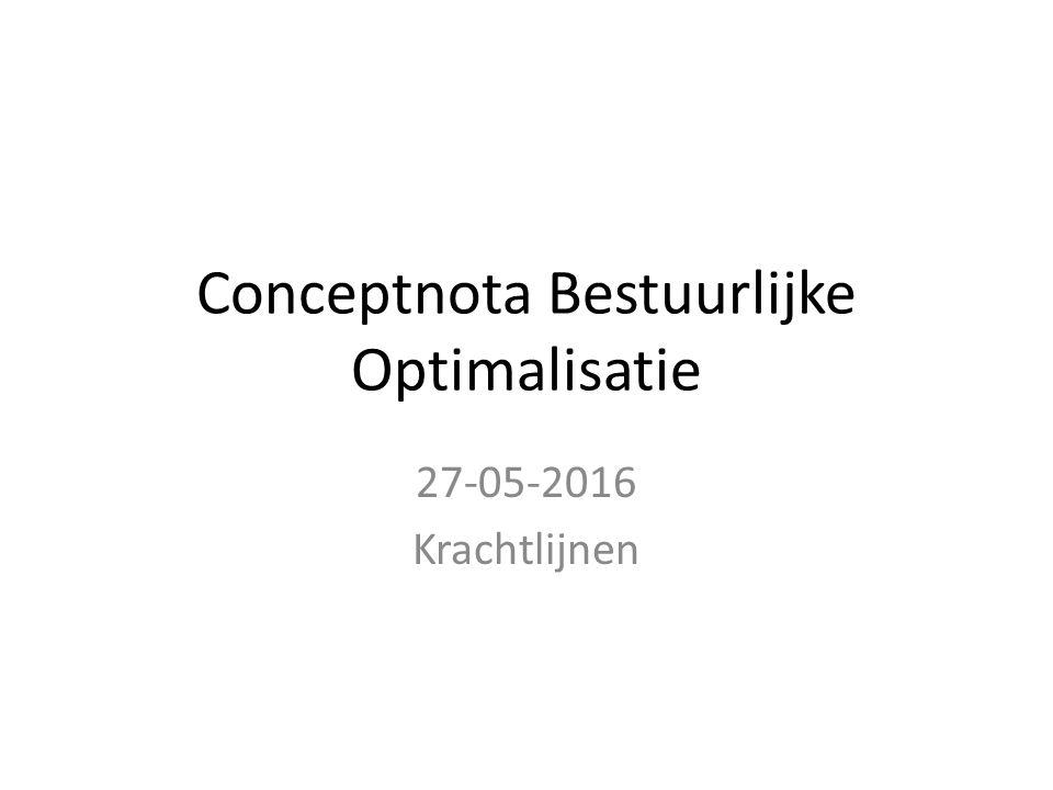 Conceptnota Bestuurlijke Optimalisatie 27-05-2016 Krachtlijnen