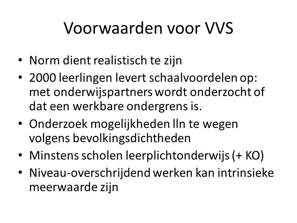 Voorwaarden voor VVS Norm dient realistisch te zijn 2000 leerlingen levert schaalvoordelen op: met onderwijspartners wordt onderzocht of dat een werkbare ondergrens is.
