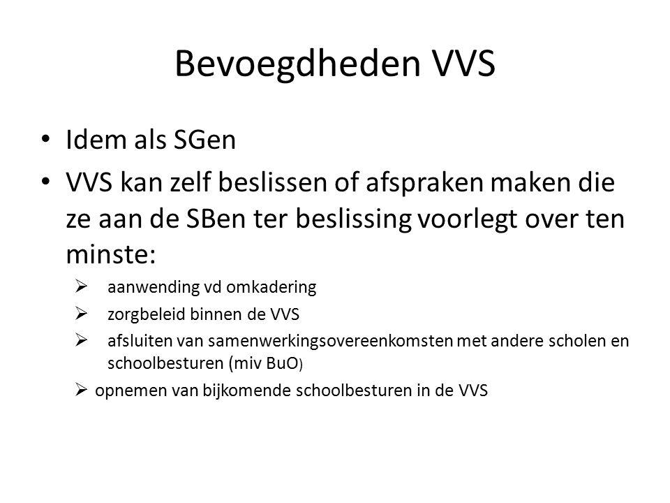 Bevoegdheden VVS Idem als SGen VVS kan zelf beslissen of afspraken maken die ze aan de SBen ter beslissing voorlegt over ten minste:  aanwending vd omkadering  zorgbeleid binnen de VVS  afsluiten van samenwerkingsovereenkomsten met andere scholen en schoolbesturen (miv BuO )  opnemen van bijkomende schoolbesturen in de VVS