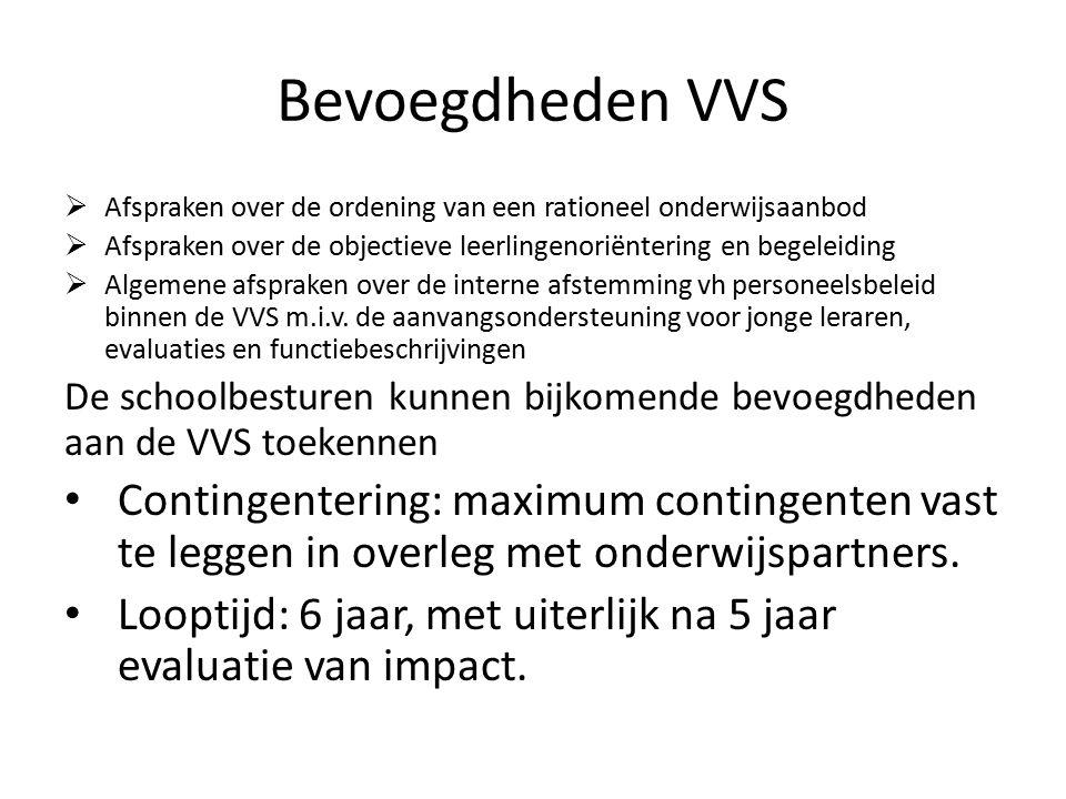 Bevoegdheden VVS  Afspraken over de ordening van een rationeel onderwijsaanbod  Afspraken over de objectieve leerlingenoriëntering en begeleiding  Algemene afspraken over de interne afstemming vh personeelsbeleid binnen de VVS m.i.v.