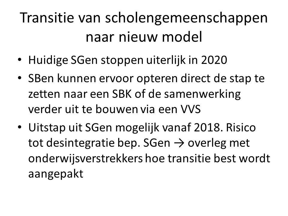 Transitie van scholengemeenschappen naar nieuw model Huidige SGen stoppen uiterlijk in 2020 SBen kunnen ervoor opteren direct de stap te zetten naar een SBK of de samenwerking verder uit te bouwen via een VVS Uitstap uit SGen mogelijk vanaf 2018.
