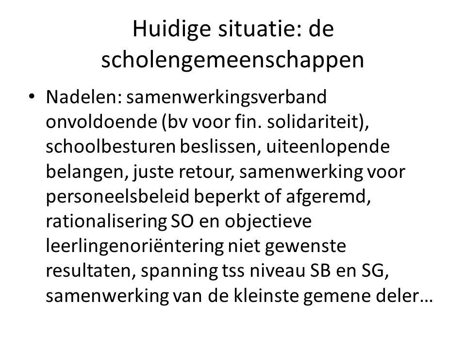 Huidige situatie: de scholengemeenschappen Nadelen: samenwerkingsverband onvoldoende (bv voor fin.