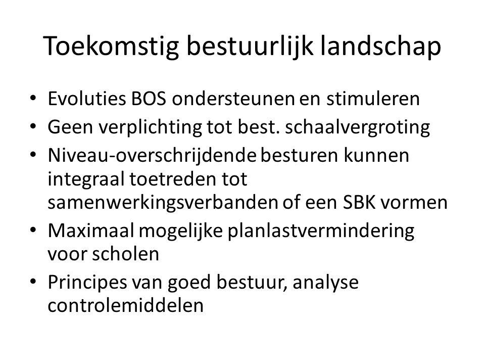 Toekomstig bestuurlijk landschap Evoluties BOS ondersteunen en stimuleren Geen verplichting tot best.