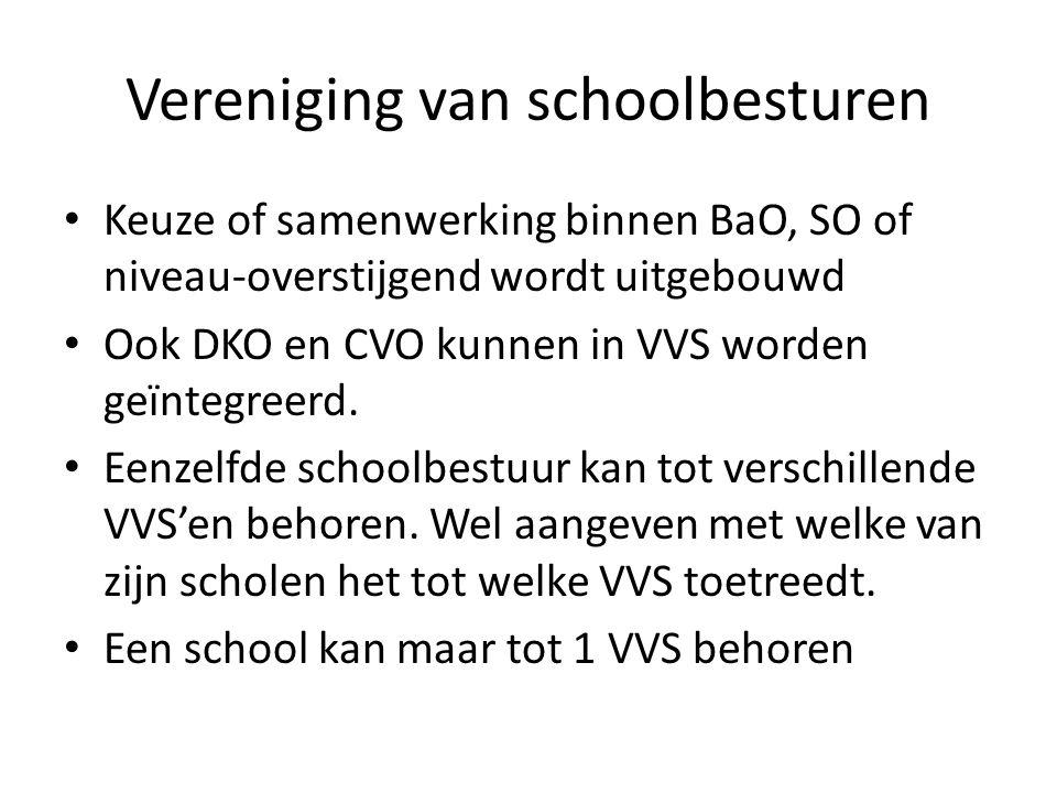 Vereniging van schoolbesturen Keuze of samenwerking binnen BaO, SO of niveau-overstijgend wordt uitgebouwd Ook DKO en CVO kunnen in VVS worden geïntegreerd.