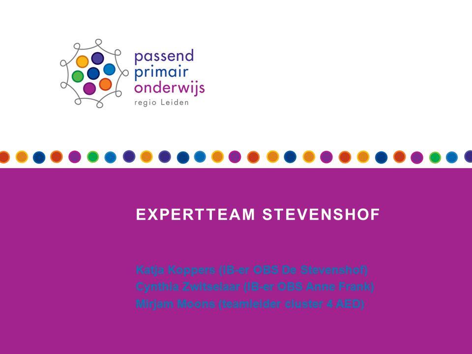 Presentatie Doelstellingen expertteam Werkwijze expertteam Stevenshof Ervaringen Vragen