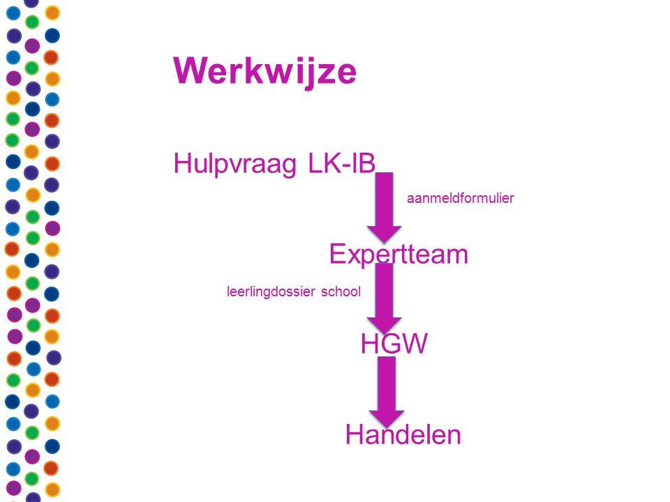 Werkwijze Hulpvraag LK-IB aanmeldformulier Expertteam leerlingdossier school HGW Handelen