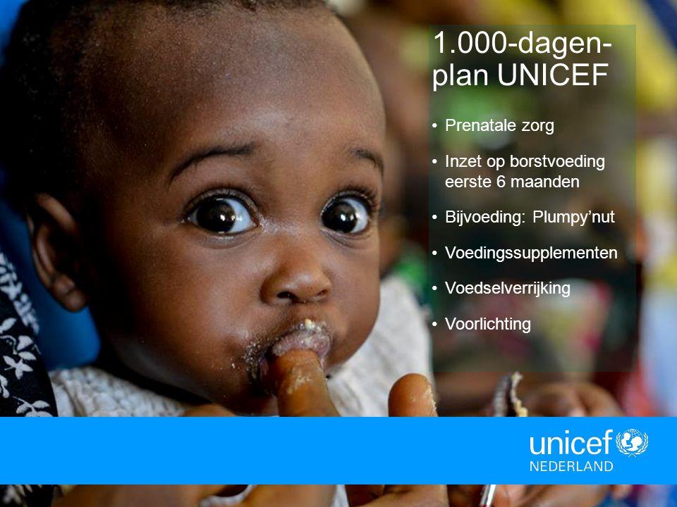 6 1.000-dagen- plan UNICEF Prenatale zorg Inzet op borstvoeding eerste 6 maanden Bijvoeding: Plumpy'nut Voedingssupplementen Voedselverrijking Voorlic