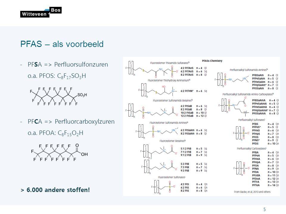 Stofeigenschappen en stofgedrag Door ons gemaakt om 'goede' werking: ˗water en olie afstotend ˗zeer stabiel: koolstof – fluoride verbinding Verspreiding gaat via water en via lucht - Geen afbraak, verblijftijd lang - Door stofgedrag is verspreiding groot In zeer lage concentraties als een probleem -EQS norm (KRW): 0,00065 µg/l Persistent, bioaccumulatief en toxisch (PBT stoffen) 6