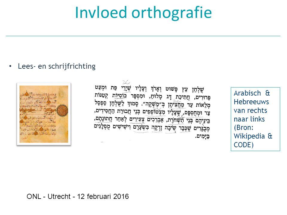 Invloed orthografie Lees- en schrijfrichting Arabisch & Hebreeuws van rechts naar links (Bron: Wikipedia & CODE) ONL - Utrecht - 12 februari 2016
