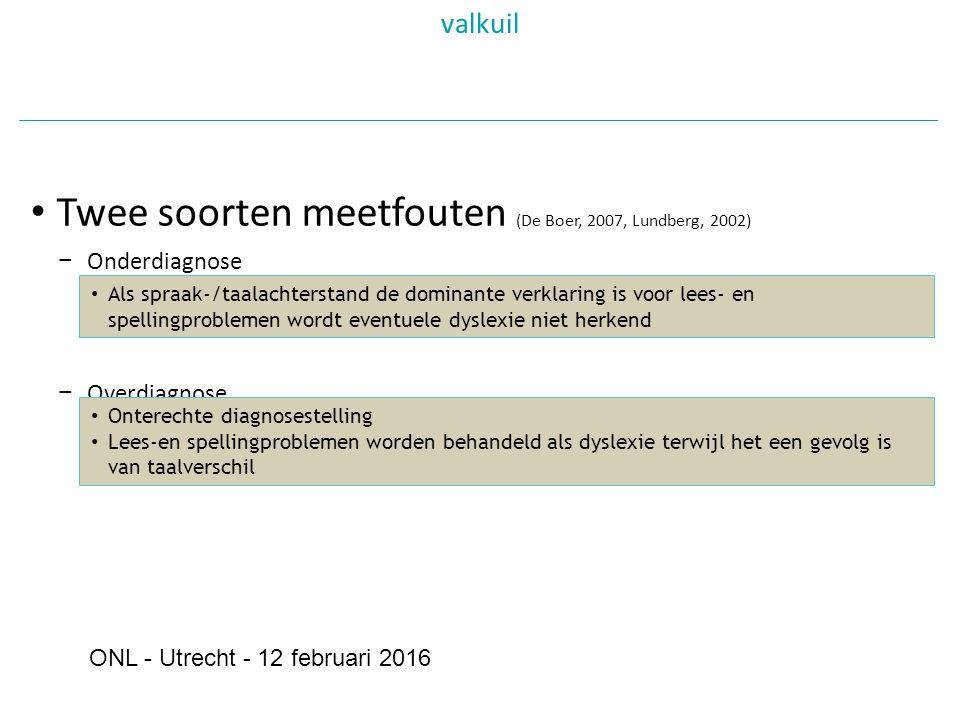 Twee soorten meetfouten (De Boer, 2007, Lundberg, 2002) − Onderdiagnose − Overdiagnose valkuil Als spraak-/taalachterstand de dominante verklaring is voor lees- en spellingproblemen wordt eventuele dyslexie niet herkend Onterechte diagnosestelling Lees-en spellingproblemen worden behandeld als dyslexie terwijl het een gevolg is van taalverschil ONL - Utrecht - 12 februari 2016
