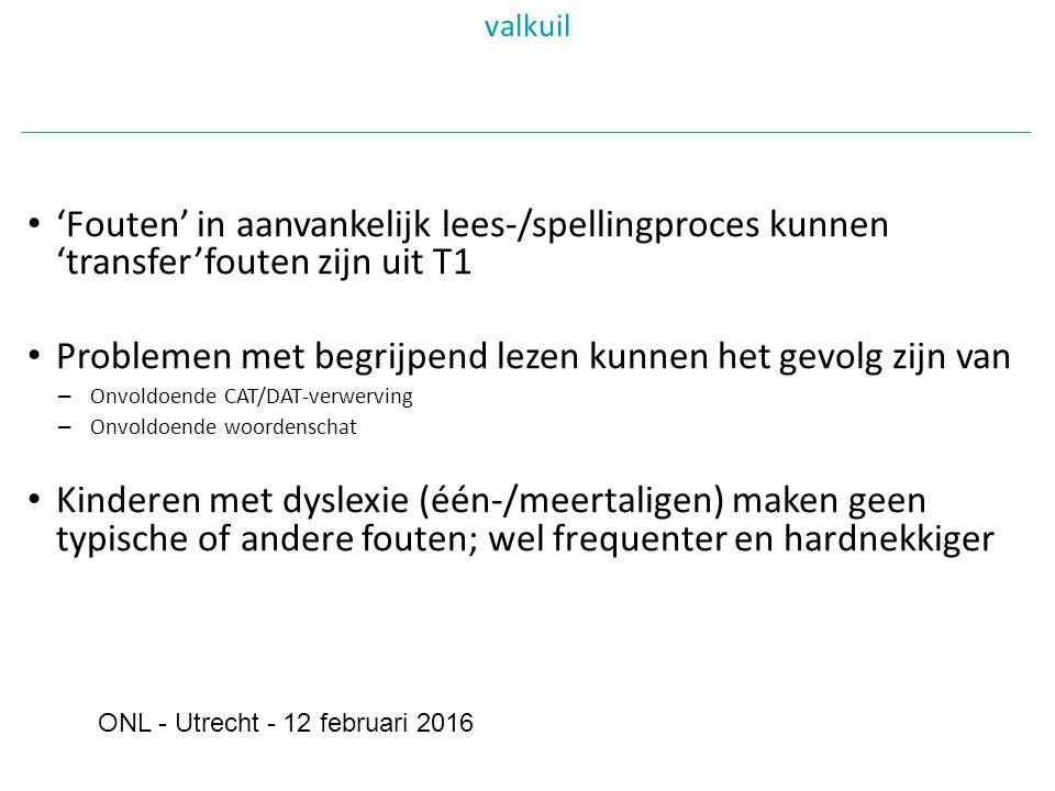 'Fouten' in aanvankelijk lees-/spellingproces kunnen 'transfer'fouten zijn uit T1 Problemen met begrijpend lezen kunnen het gevolg zijn van – Onvoldoende CAT/DAT-verwerving – Onvoldoende woordenschat Kinderen met dyslexie (één-/meertaligen) maken geen typische of andere fouten; wel frequenter en hardnekkiger valkuil ONL - Utrecht - 12 februari 2016